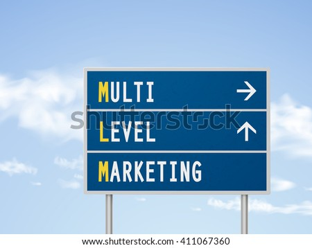3d illustration multi level marketing road sign isolated on blue sky