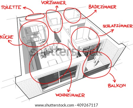 3d illustration of Apartment diagram with hand drawn notes in german language