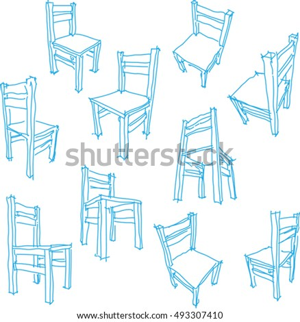 3d illustration of collection of ten hand drawn drawings of a simple wooden chair
