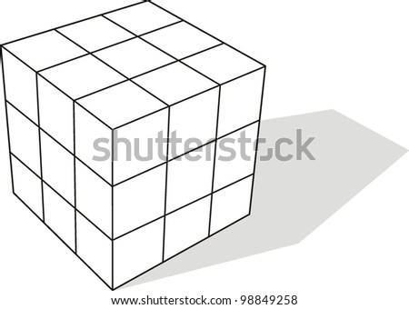 3d illustration of cube assembling from blocks - stock vector