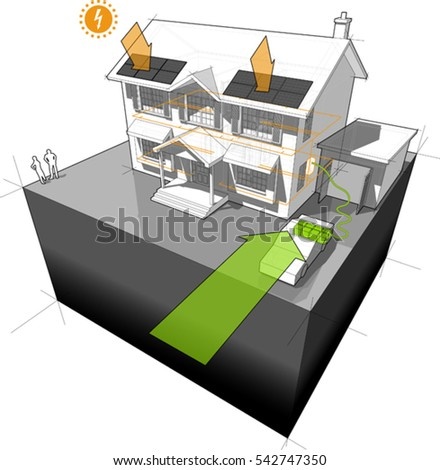 3d illustration of diagram of a classic colonial house powered by battery from electric car with photovoltaic panels on the roof as source of extra electric energy