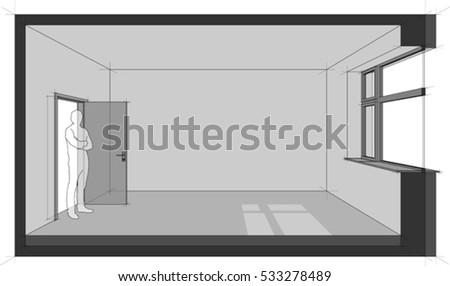 3d Illustration Diagram Empty Room Door Stock Vector ...