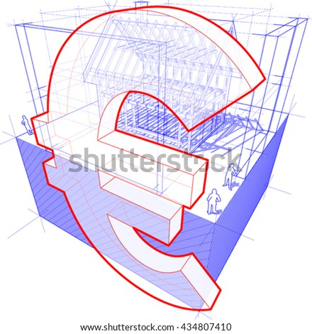 3d illustration of diagram of a framework construction of a detached house with euro currency sign - stock vector