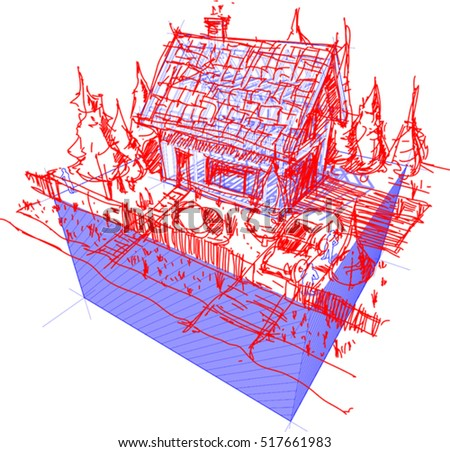 3d illustration of diagram of a framework construction with hand drawn sketch of simple detached house with fence and trees and car