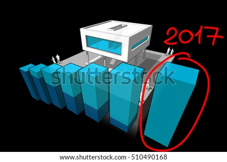 3d illustration of diagram of a modern house with rising abstract business diagram and hand drawn note 2017 over last bar