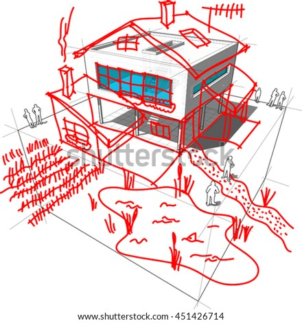 3d illustration of diagram of a possible  modern house or villa  redesign when creating a pseudo romantic detached house out of modern architecture - stock vector