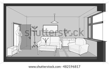 3d illustration of diagram of a single room furnished with sofa, chair, table, cabinets, ceiling lamp, cloths hanger and painting on the wall