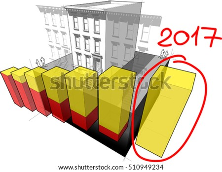 3d illustration of diagram of a typical american brownstone townhouse with neighbour buildings and hand drawn note 2017 over rising business diagram