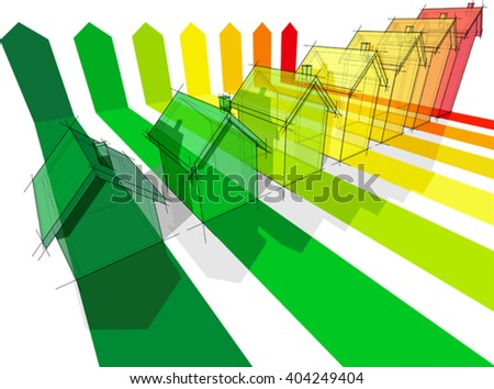3d illustration of energy rating diagram of seven houses certified in seven energetic classes in a dateched house energy rating diagram or energy efficiency rating diagram