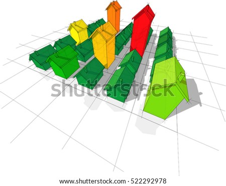 3d illustration of field of twenty five transparent  simple detached houses with different height on rectangular  grid composed of squares in colors of energy rating diagram