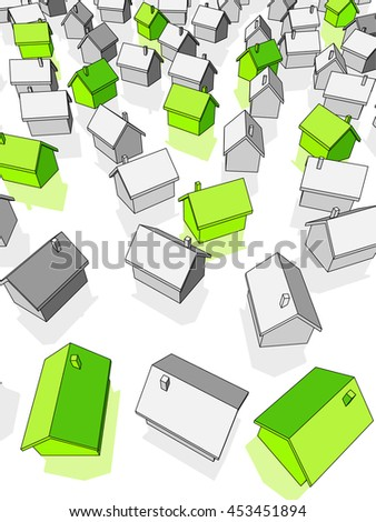 3d illustration of green ecological houses standing out from others  - stock vector