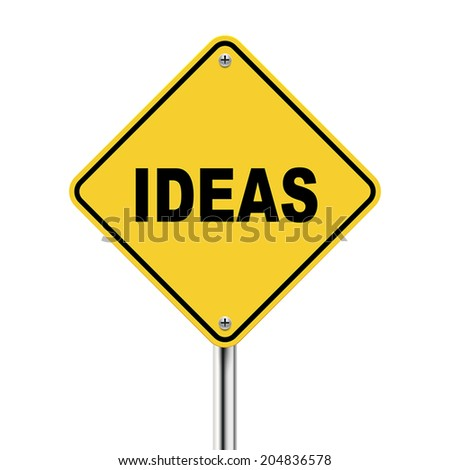 3d illustration of ideas road sign  isolated on white background - stock vector