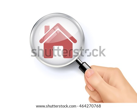 3D illustration of magnifying glass over the house icon