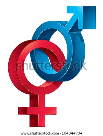 3d illustration of Male and female signs on white background - stock vector