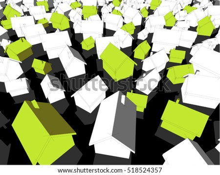 3d illustration of many chaotically standing simple detached houses of different sizes with shadows and green eco houses standing out from others