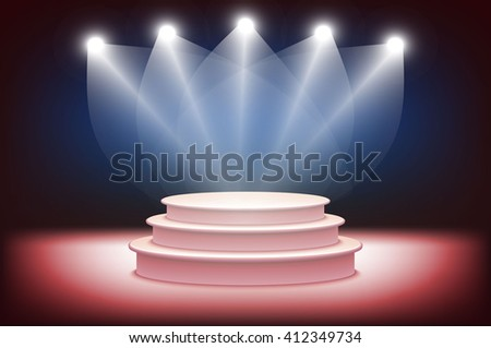 3d Illustration of Photorealistic  Podium Stage with Blue Stage Lights Background. Used for Product Placement, Presentations, Contest Stage. Blue stage light background art - stock vector