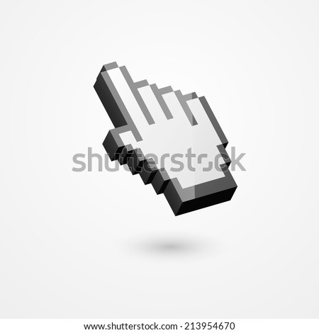 3D illustration of pixelated hand pointer, isolated on white background. - stock vector