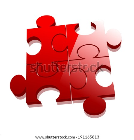 3d illustration of red puzzle
