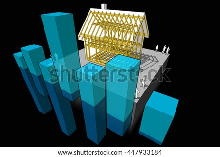 3d illustration of simple detached house with wooden framework construction with abstract business diagram  - stock vector