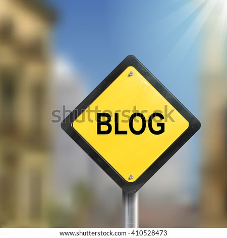 3d illustration of yellow roadsign of blog isolated on blurred street scene