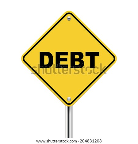 3d illustration of yellow roadsign of debt isolated on white background - stock vector