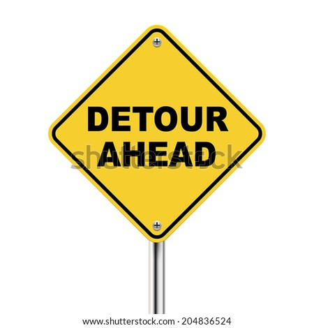 3d illustration of yellow roadsign of detour ahead isolated on white background - stock vector