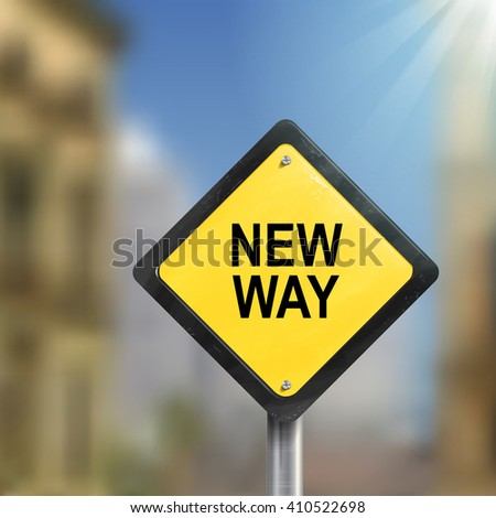 3d illustration of yellow roadsign of new way isolated on blurred street scene - stock vector