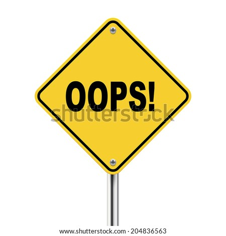 3d illustration of yellow roadsign of oops isolated on the white background