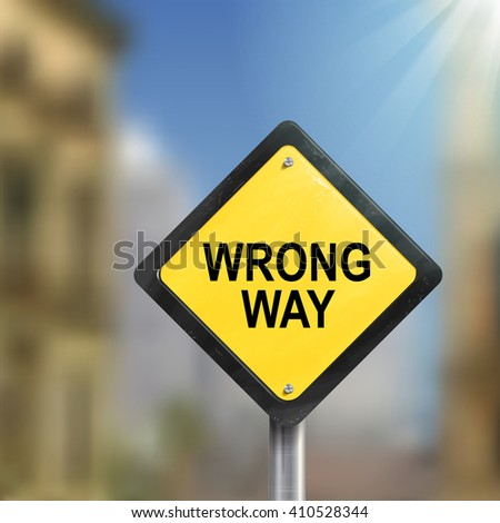 3d illustration of yellow roadsign of wrong way isolated on blurred street scene - stock vector