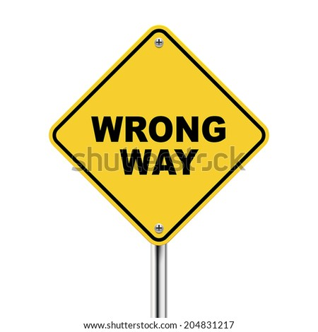 3d illustration of yellow roadsign of wrong way isolated on white background