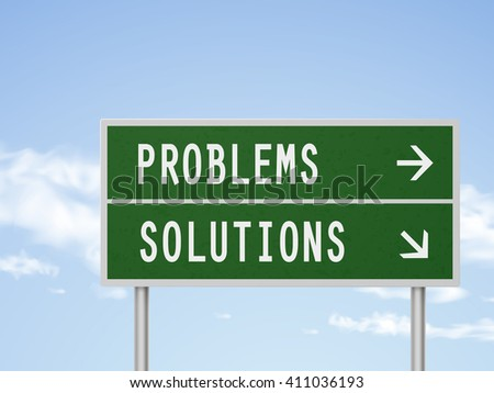 3d illustration road sign with problems and solutions isolated on blue sky