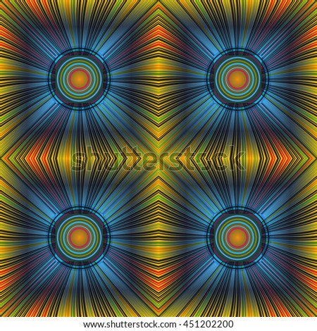 3D illustration. Seamless c radial rays and concentric circles. The three-dimensional luminous psychedelic space. Regular pattern. - stock vector