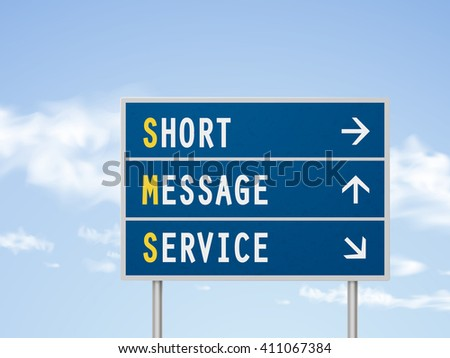3d illustration short message service road sign isolated on blue sky - stock vector