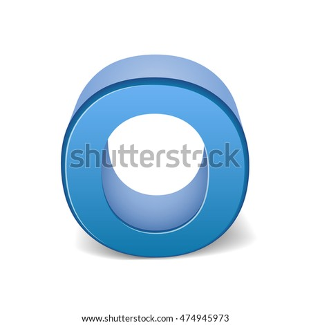 3D image blue letter O isolated on white background