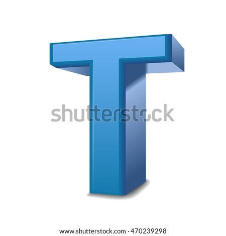 3D image blue letter T isolated on white background