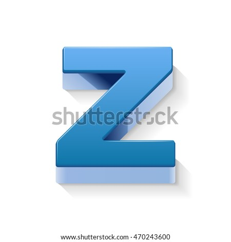 3D image blue letter Z isolated on white background