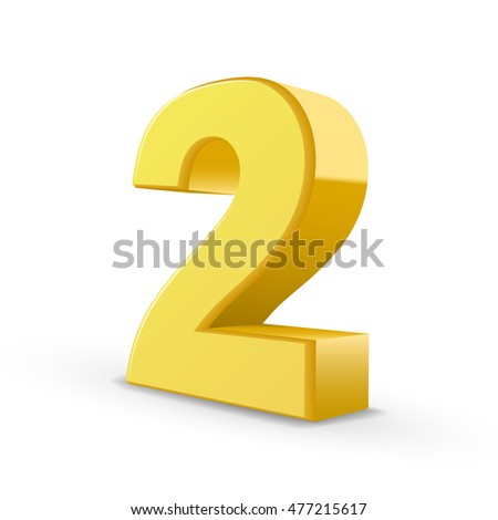 3D image shiny yellow number 2 isolated on white background