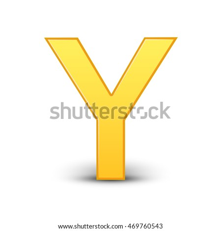 3D image yellow letter Y isolated on white background