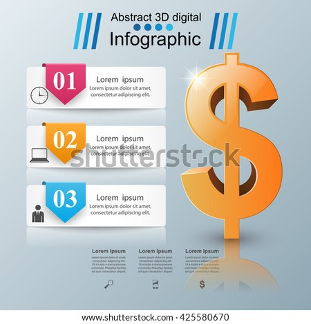 3D infographic design template and marketing icons. Dollar icon. Money icon. - stock vector