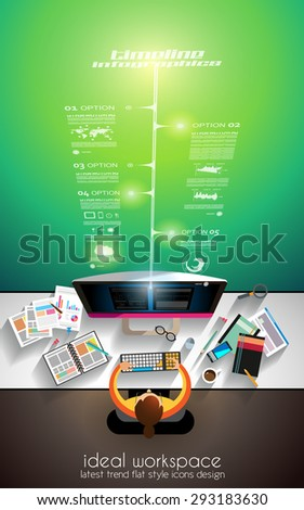 3D Infographic teamwork and brainstorming with Flat style. A lot of design elements are included: computers, mobile devices, desk supplies, pencil,coffee mug, sheets,documents and so on - stock vector