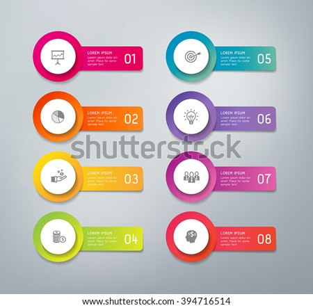 3D infographics buttons with business icons. Can be used for presentations to mark options, workflow, progress, success. - stock vector