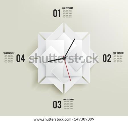 3d Infographics Paper Elements Template Clock Stock Vector 149009399 ...