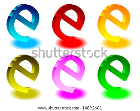 3d internet signs - stock vector