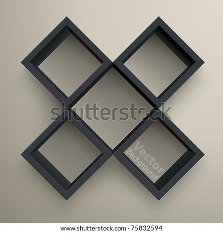 3d isolated Empty black bookshelf. Vector illustration - stock vector