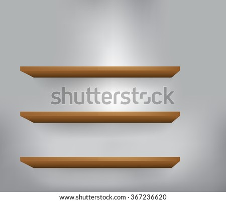 3d isolated Empty shelf for exhibit 1. Vector illustration.