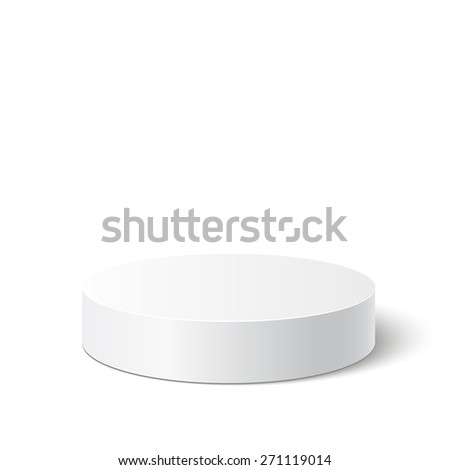 3d isolated Empty white podium on white background. Vector illustration. - stock vector