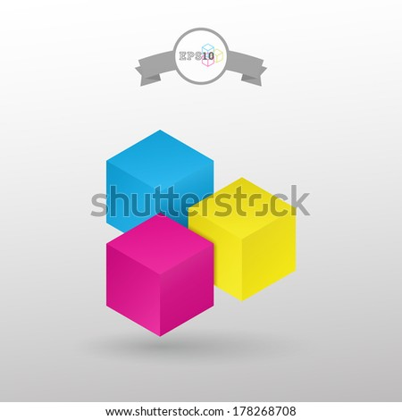 3d isolated minimal cube vector background for banner, web site background, infographic - CMYK version - stock vector