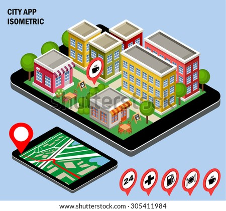 3d isometric city with the specified destination point on the tablet screen. City navigation app. Vector illustration - stock vector