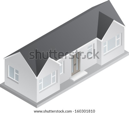 3d isometric drawing of a double fronted single story house/bungalow. Vector Version.