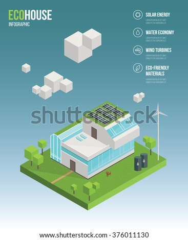 3d Isometric Eco House Concept. Green Home, Ecology Power, Healthy  Lifestyle. Infographic